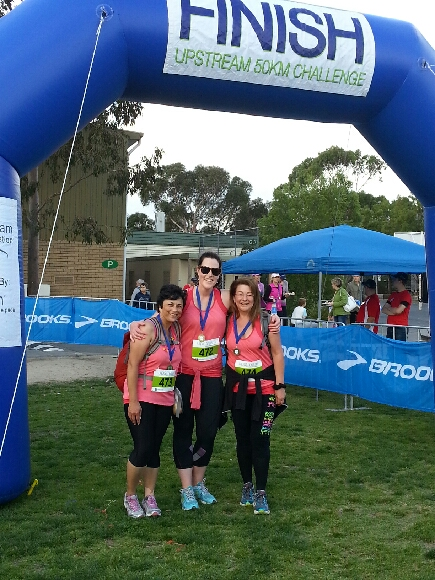 Inspire Fitness members Bernadette Marchesi, Fran James, and Glenda Rosenberg at the 50 km Upstream Challenge 2013